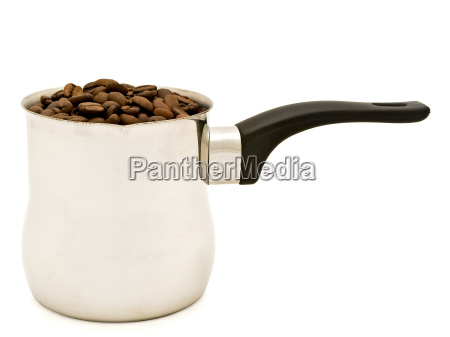 turkish percolator with coffee beans