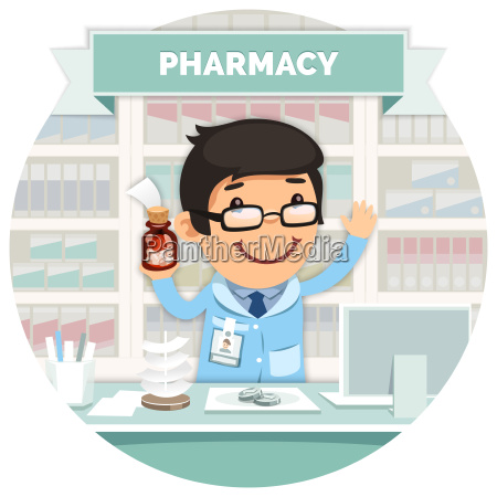 apothecary behind the counter at pharmacy