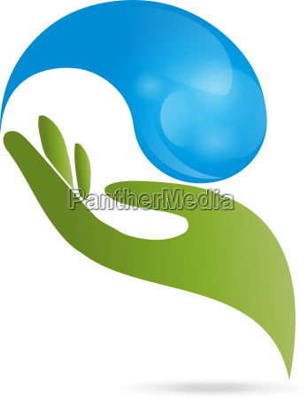 logo hand drops water