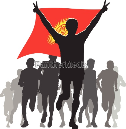 athlete with the kyrgyzstan flag at