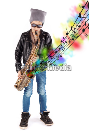 boy with saxophone and notes