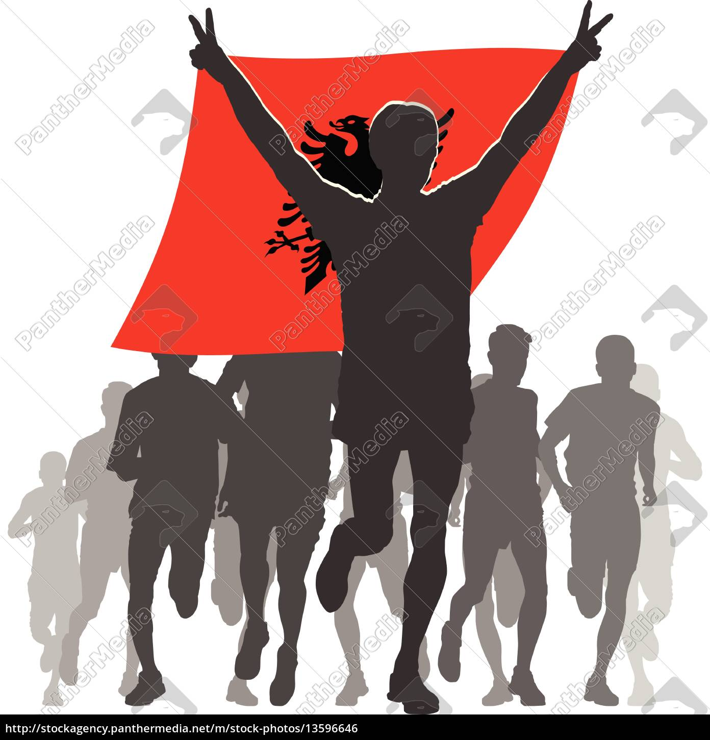 athlete, with, the, albania, flag, at - 13596646