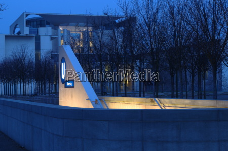 federal chancellery with entrance to the