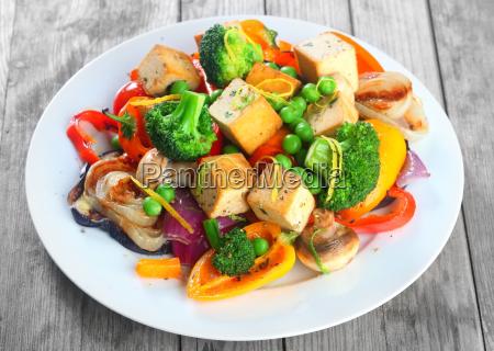 gourmet healthy main dish on white