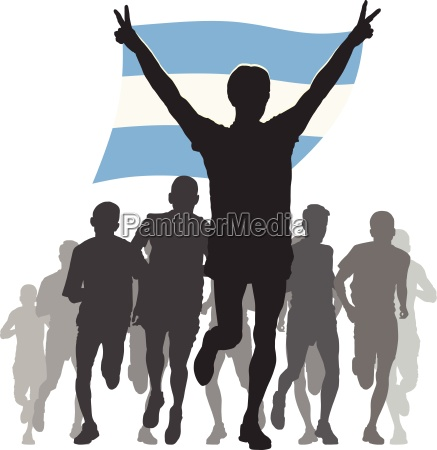 athlete with the argentina flag at