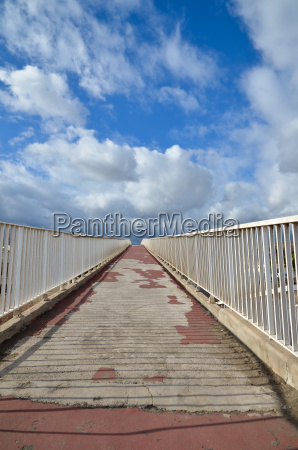upwards an old footbridge