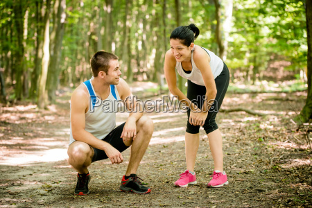 couple, relaxes, after, jogging - 13615688