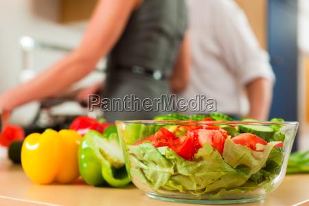 preparation of vegetables and salad
