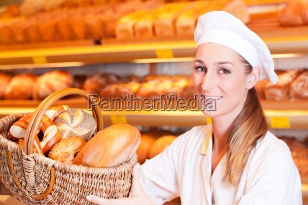 baker in her bakery