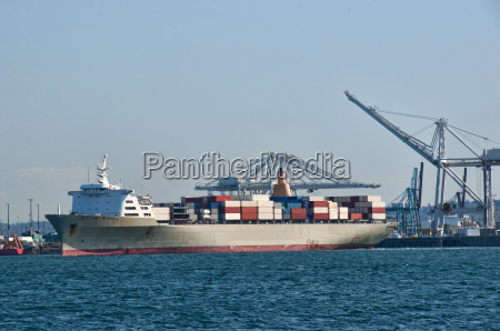 cargo ship waiting to offload with