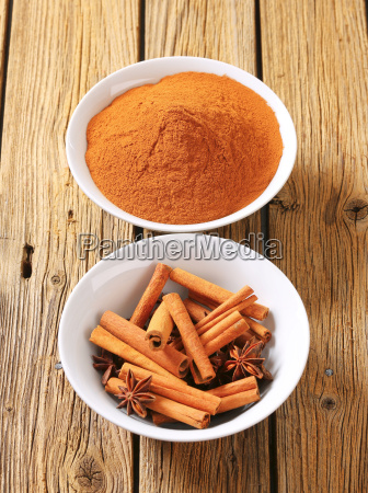 bowls of cinnamon and star anise