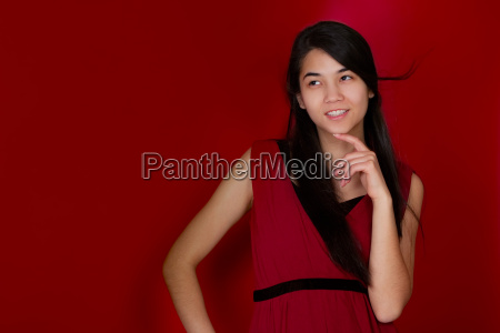 beautiful biracial teen girl hand on