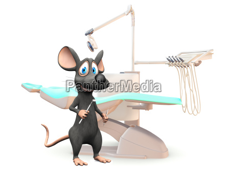 smiling cartoon mouse at the dentist