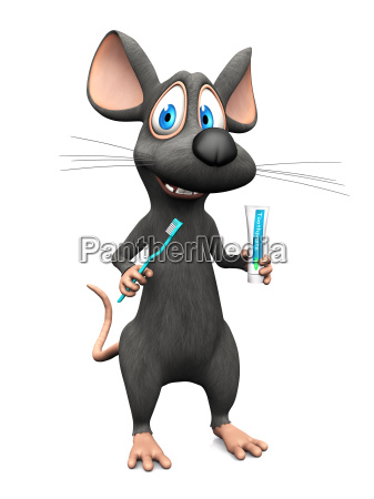 smiling cartoon mouse ready to brush