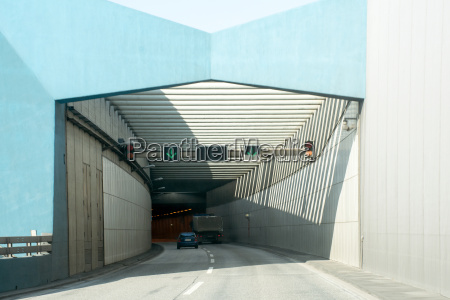 entrance of new elbtunnel tunnel under