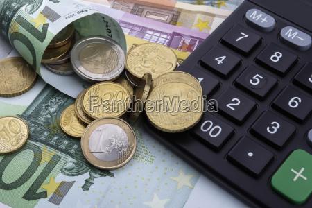 euros eur and a calculator