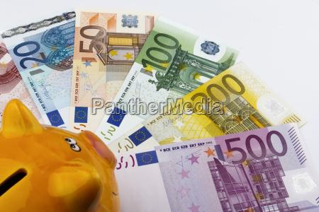 piggy bank and euros