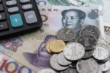 chinese money rmb and a calculator