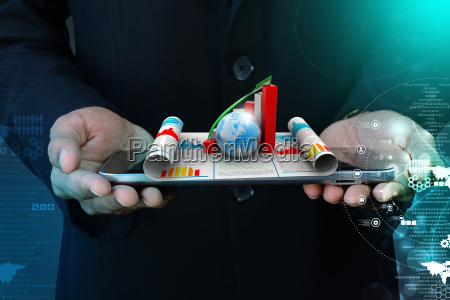 business man showing growth graph and
