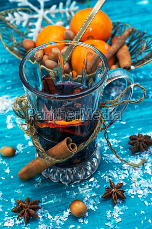 drink mulled wine on bright blue