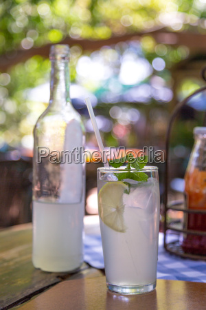 ice cold lemonade served with mint