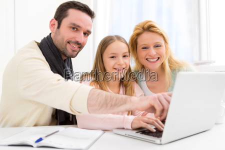 happy family in front of a