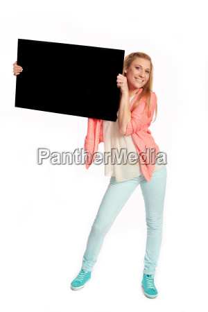 young woman with black advertising sign