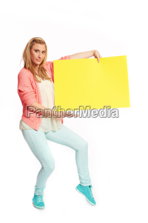 young funky woman with yellow sign