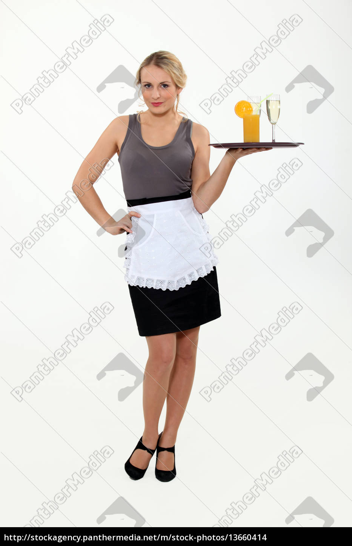 waitress, bringing, drinks, on, a, tray. - 13660414