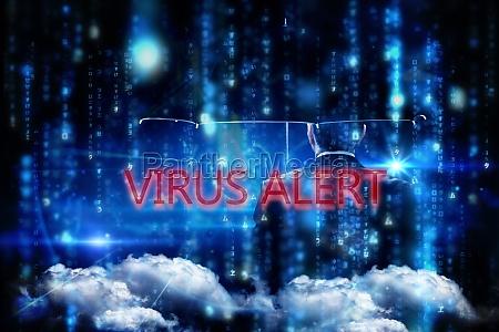 virus alert against lines of blue