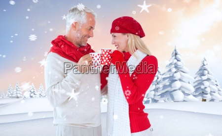composite image of happy winter couple