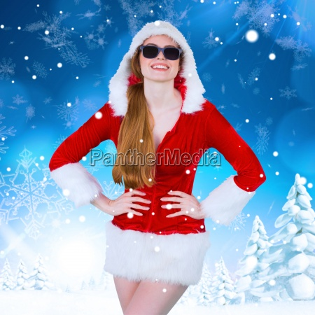 composite image of cool santa girl