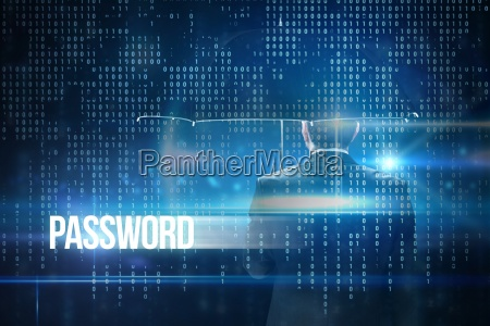 password against blue technology interface with