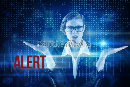 alert against blue technology interface with