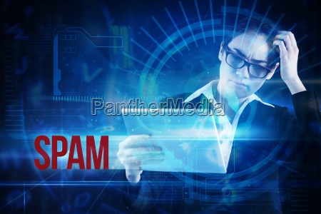 spam against blue technology interface with