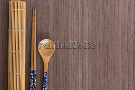 blue sushi chopsticks and spoon