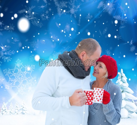 composite image of mature couple holding