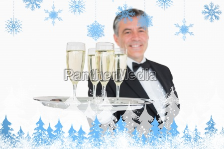 composite image of waiter serving tray