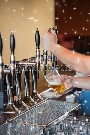 composite image of barman pulling a