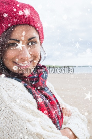 composite image of woman in knitted
