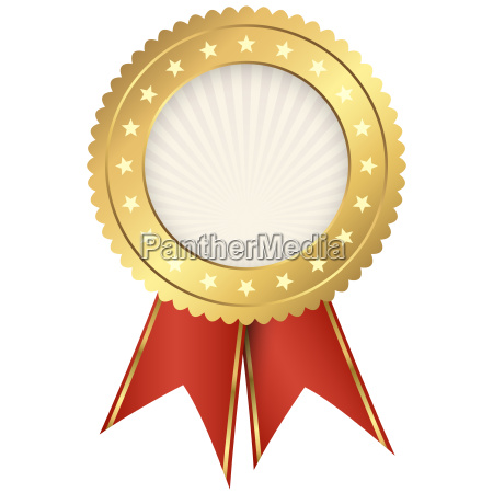 seal of quality gold with ribbons