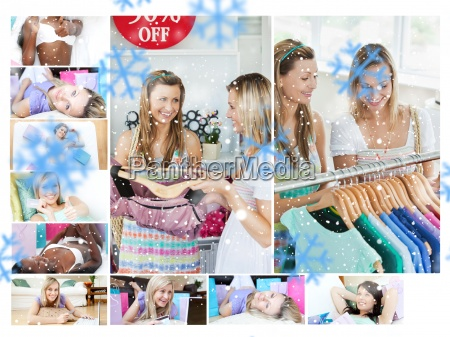 montage of young women shopping for
