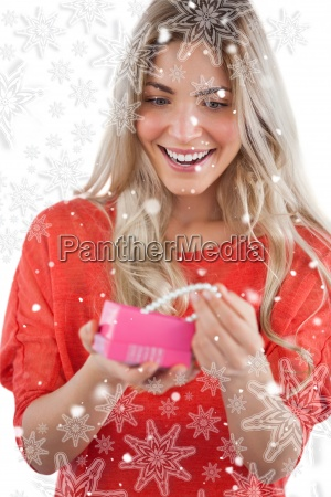 composite image of blonde woman discovering