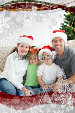 adorable family at christmas sitting in