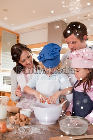 portrait of a family baking