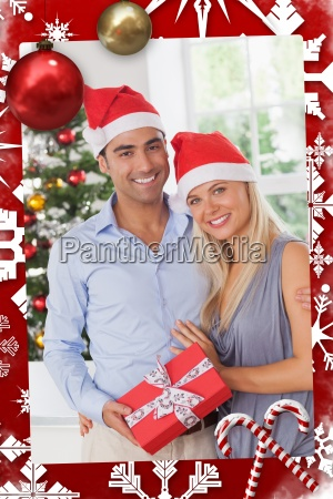 composite image of attractive couple at