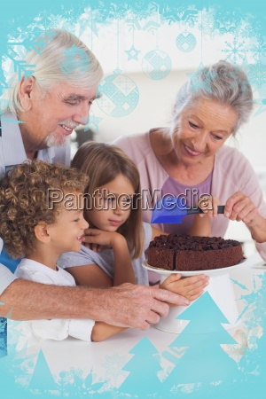 children icing a cake in the
