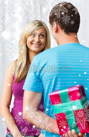 composite image of cute boyfriend giving