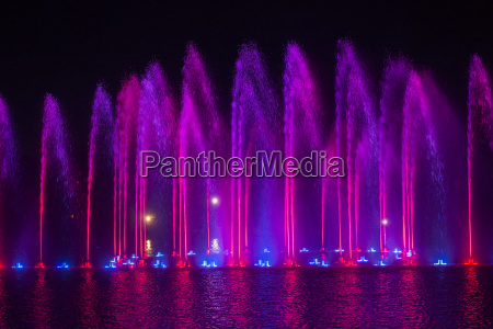 musical fountain with colorful illuminations