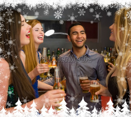 composite image of laughing friends chatting